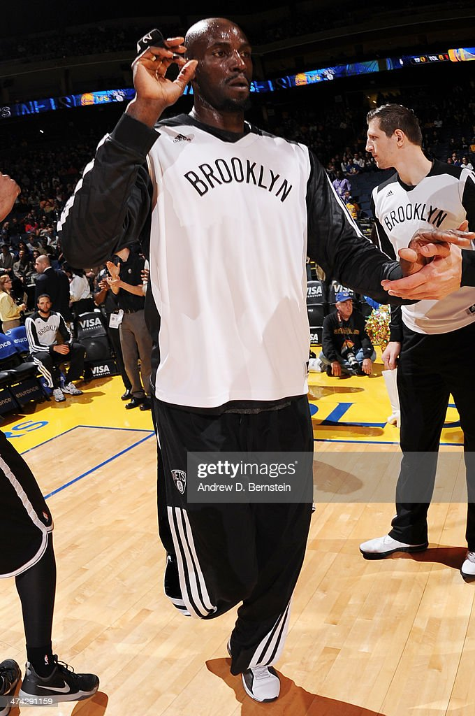Kevin Garnett #2 of the Brooklyn Nets is introduced before a game against the Golden State Warriors at Oracle Arena on February 22, 2014 in Oakland, California.