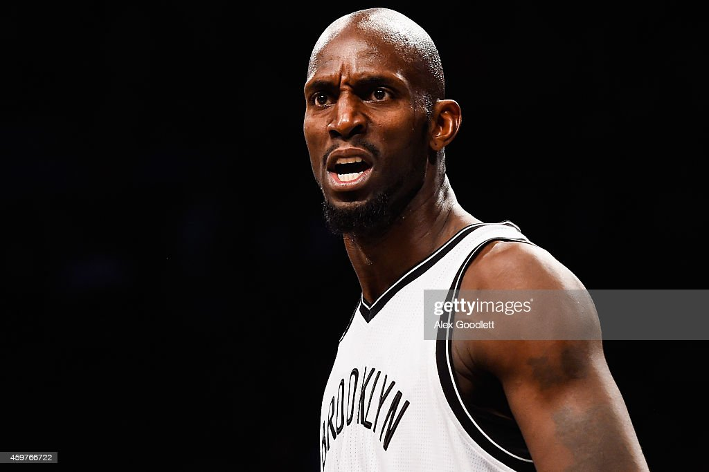 <a gi-track='captionPersonalityLinkClicked' href=/galleries/search?phrase=Kevin+Garnett&family=editorial&specificpeople=201473 ng-click='$event.stopPropagation()'>Kevin Garnett</a> #2 of the Brooklyn Nets looks on during a game against the Milwaukee Bucks at the Barclays Center on November 19, 2014 in the Brooklyn borough of New York City.