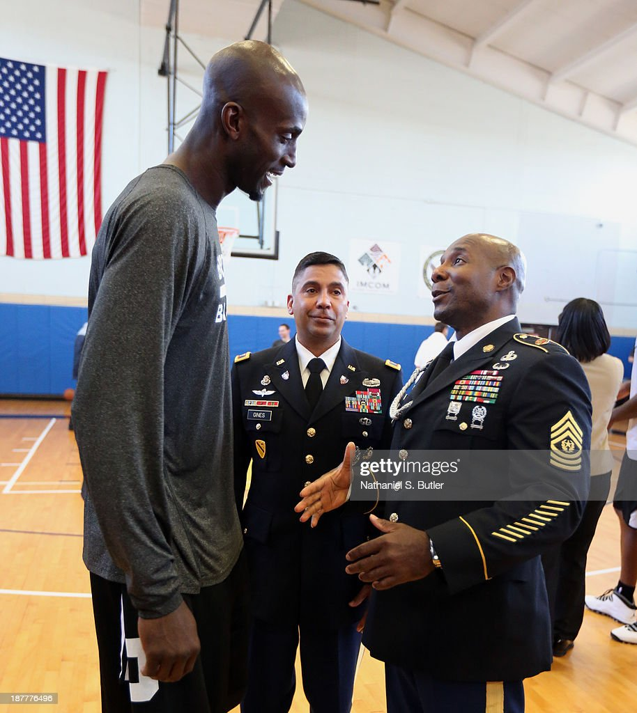 Kevin Garnett #2 of the Brooklyn Nets poses for a picture during a team event in celebration of Veterans Day at Ft. Hamilton, Brooklyn on November 11, 2013 in the Brooklyn borough of New York City.