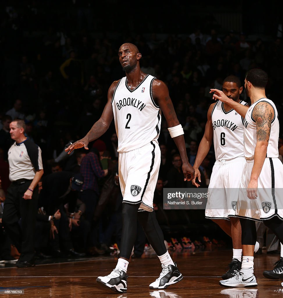 <a gi-track='captionPersonalityLinkClicked' href=/galleries/search?phrase=Kevin+Garnett&family=editorial&specificpeople=201473 ng-click='$event.stopPropagation()'>Kevin Garnett</a> #2 of the Brooklyn Nets reacts in a game between the Philadelphia 76ers and the Brooklyn Nets during a game at Barclays Center in Brooklyn.