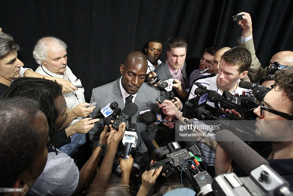 Kevin Garnett of the Brooklyn Nets responds to media during a press conference at the Barclays Center on July 18 2013 in the Brooklyn borough of New...