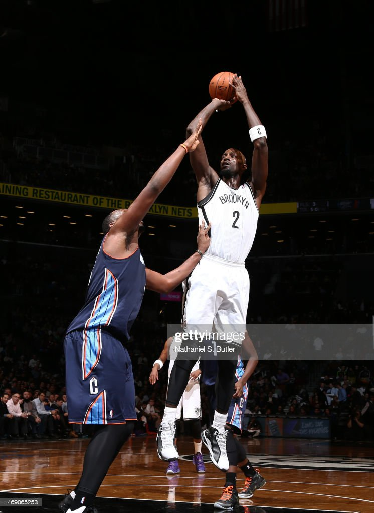 Kevin Garnett #2 of the Brooklyn Nets shoots against the Charlotte Bobcats during a game at the Barclays Center on February 12, 2014 in the Brooklyn borough of New York City.