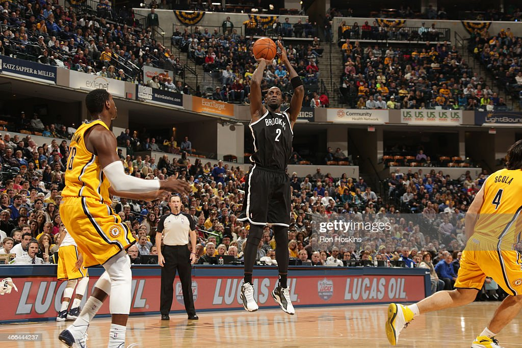 <a gi-track='captionPersonalityLinkClicked' href=/galleries/search?phrase=Kevin+Garnett&family=editorial&specificpeople=201473 ng-click='$event.stopPropagation()'>Kevin Garnett</a> #2 of the Brooklyn Nets shoots against the Indiana Pacers at Bankers Life Fieldhouse on February 1, 2014 in Indianapolis, Indiana.