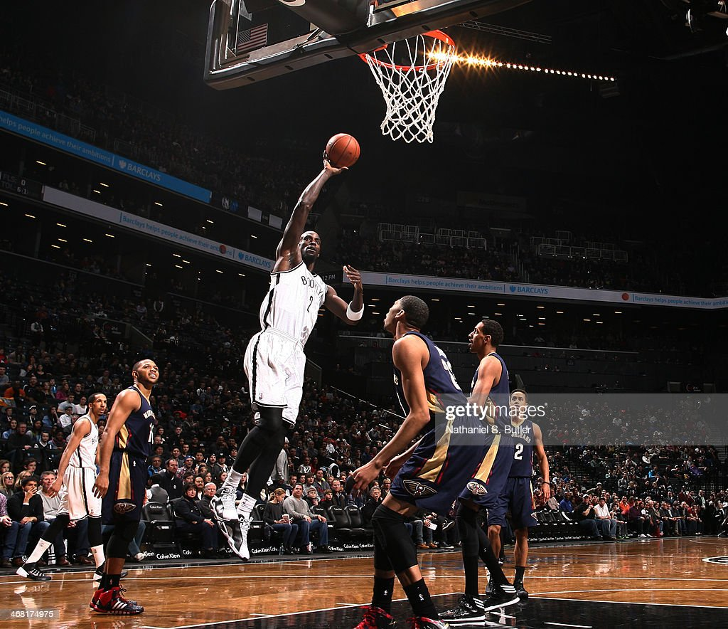 Kevin Garnett #2 of the Brooklyn Nets shoots against the New Orleans Pelicans at the Barclays Center on February 9, 2014 in the Brooklyn borough of New York City.