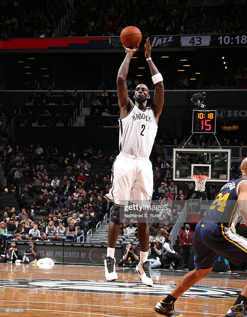 Kevin Garnett #2 of the Brooklyn Nets shoots during a game against the Utah Jazz at Barclays Center on November 5, 2013 in the Brooklyn borough of New York City.