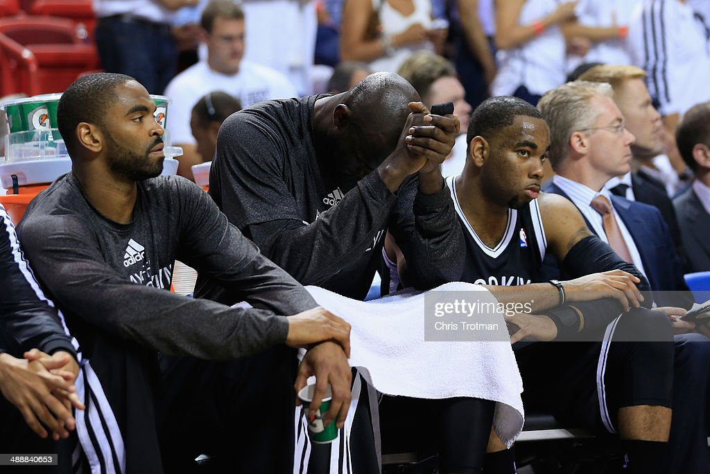 Kevin Garnett #2 of the Brooklyn Nets sits dejected on the bench during the fourth quarter of Game Two of the Eastern Conference Semifinals of the 2014 NBA Playoffs at American Airlines Arena on May 8, 2014 in Miami, Florida.