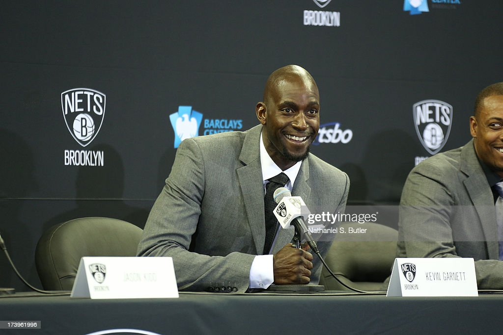 Kevin Garnett #2 of the Brooklyn Nets speaks to the media during a press conference at the Barclays Center on July 18, 2013 in the Brooklyn borough of New York City.
