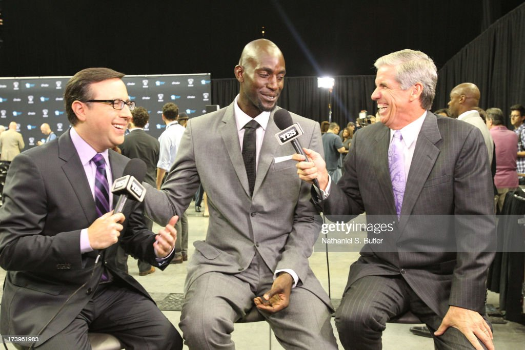 <a gi-track='captionPersonalityLinkClicked' href=/galleries/search?phrase=Kevin+Garnett&family=editorial&specificpeople=201473 ng-click='$event.stopPropagation()'>Kevin Garnett</a> #2 of the Brooklyn Nets speaks with local media during a press conference at the Barclays Center on July 18, 2013 in the Brooklyn borough of New York City.