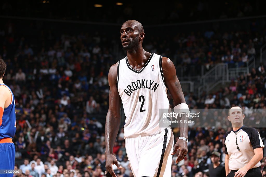 <a gi-track='captionPersonalityLinkClicked' href=/galleries/search?phrase=Kevin+Garnett&family=editorial&specificpeople=201473 ng-click='$event.stopPropagation()'>Kevin Garnett</a> #2 of the Brooklyn Nets standing on court during a game against the New York Knicks during a game at Barclays Center on December 5, 2013 in the Brooklyn borough of New York City.