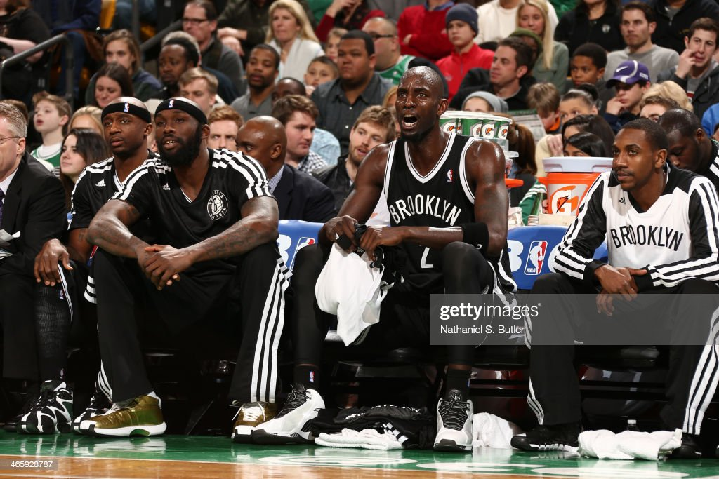 Kevin Garnett #2 of the Brooklyn Nets yells from the bench during the game against the Boston Celtics at TD Garden in Boston.