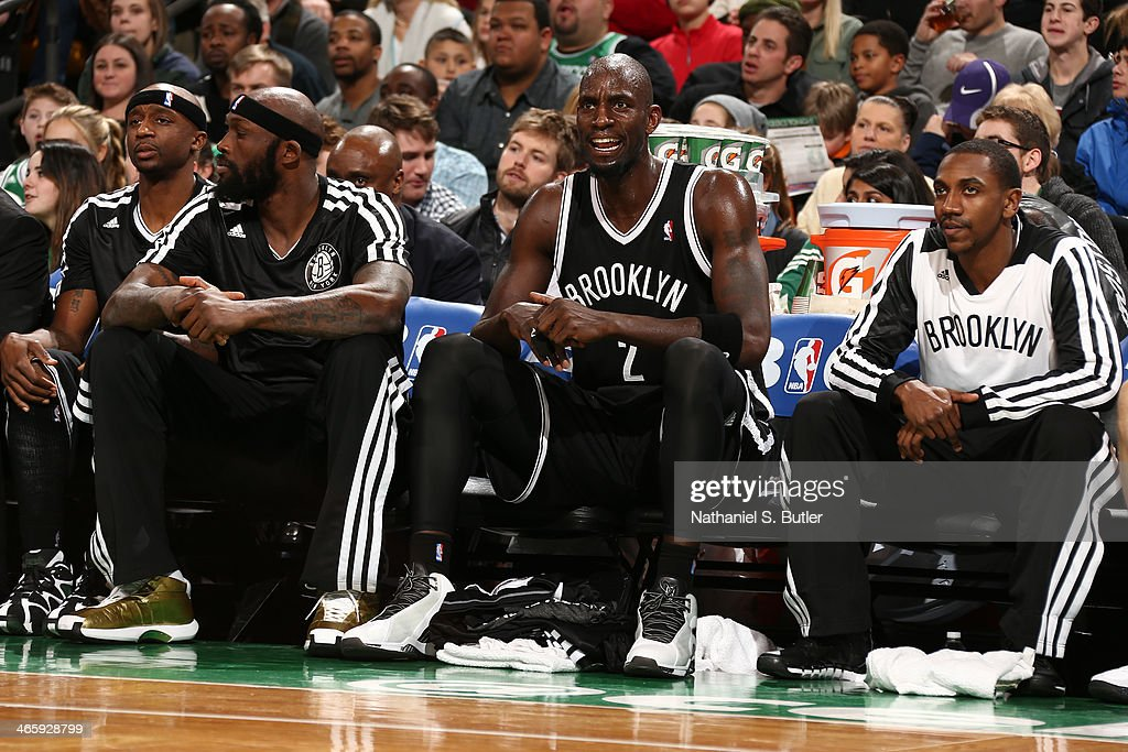 <a gi-track='captionPersonalityLinkClicked' href=/galleries/search?phrase=Kevin+Garnett&family=editorial&specificpeople=201473 ng-click='$event.stopPropagation()'>Kevin Garnett</a> #2 of the Brooklyn Nets yells from the bench during the game against the Boston Celtics at TD Garden in Boston.