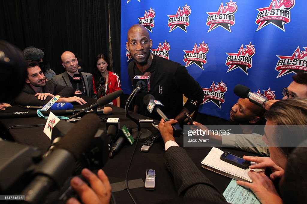 Kevin Garnett of the Eastern Conference All-Stars speaks to the media at media availability during of the 2013 NBA All-Star Weekend at the Hilton Americas Hotel on February 15, 2013 in Houston, Texas.