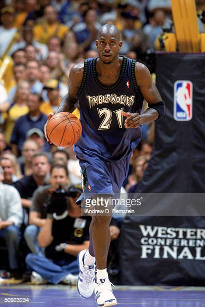 Kevin Garnett of the Minnesota Timberwolves advances the ball up court in Game Six of the Western Conference Finals against the Los Angeles Lakers...