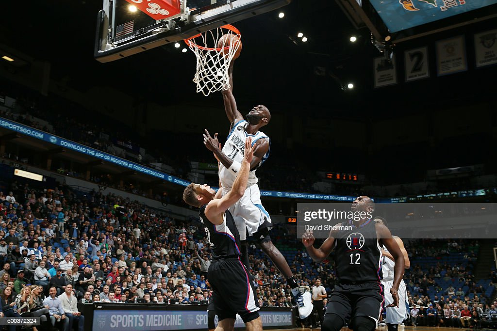 <a gi-track='captionPersonalityLinkClicked' href=/galleries/search?phrase=Kevin+Garnett&family=editorial&specificpeople=201473 ng-click='$event.stopPropagation()'>Kevin Garnett</a> #21 of the Minnesota Timberwolves dunks against the Los Angeles Clippers on December 7, 2015 at Target Center in Minneapolis, Minnesota.