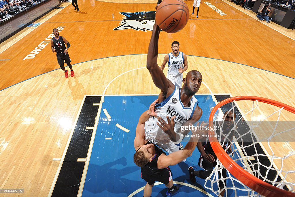 Kevin Garnett #21 of the Minnesota Timberwolves dunks the ball against the Los Angeles Clippers on December 7, 2015 at Target Center in Minneapolis, Minnesota.
