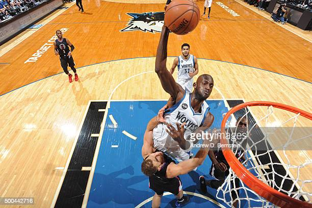 Kevin Garnett of the Minnesota Timberwolves dunks the ball against the Los Angeles Clippers on December 7 2015 at Target Center in Minneapolis...