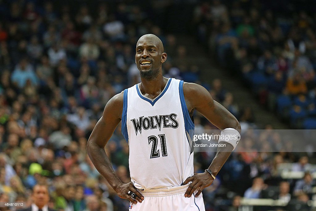 <a gi-track='captionPersonalityLinkClicked' href=/galleries/search?phrase=Kevin+Garnett&family=editorial&specificpeople=201473 ng-click='$event.stopPropagation()'>Kevin Garnett</a> #21 of the Minnesota Timberwolves during the game against the Memphis Grizzlies on February 28, 2015 at Target Center in Minneapolis, Minnesota.
