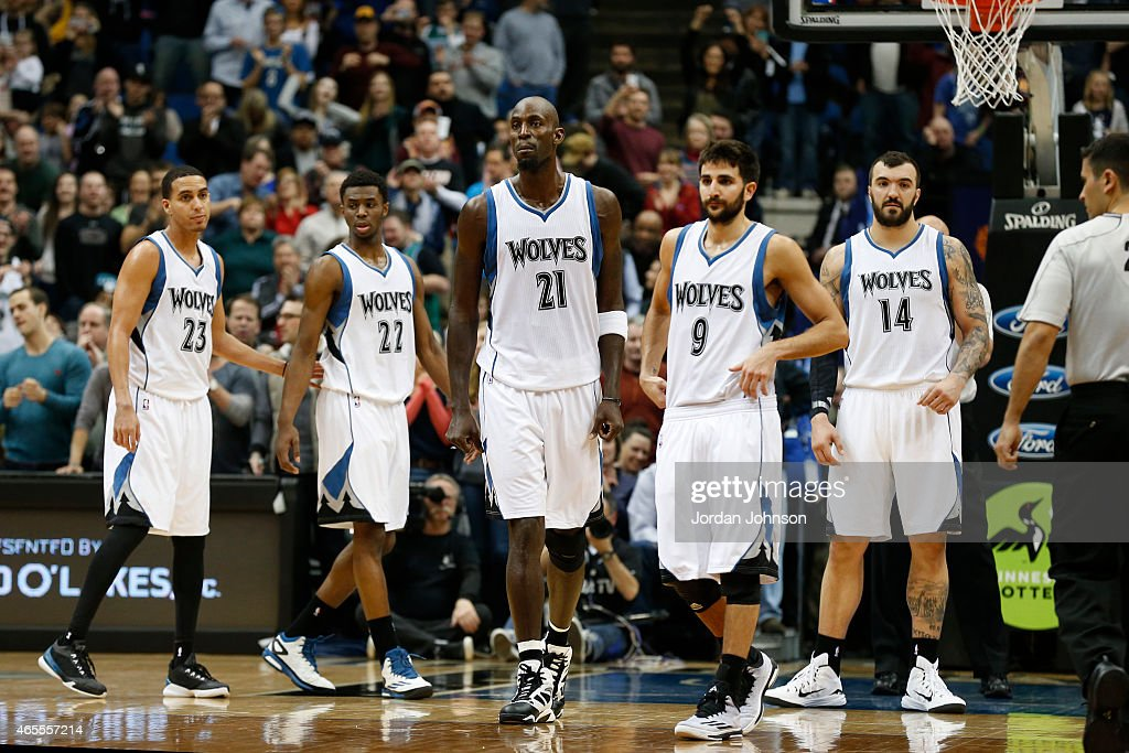 <a gi-track='captionPersonalityLinkClicked' href=/galleries/search?phrase=Kevin+Garnett&family=editorial&specificpeople=201473 ng-click='$event.stopPropagation()'>Kevin Garnett</a> #21 of the Minnesota Timberwolves during the game against the Portland Trail Blazers on March 7, 2015 at Target Center in Minneapolis, Minnesota.