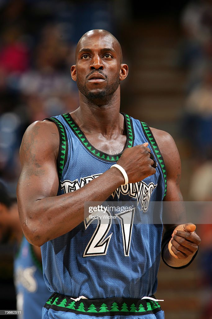 Kevin Garnett of the Minnesota Timberwolves gets ready to take on the Sacramento Kings on March 21 2007 at ARCO Arena in Sacramento California NOTE...