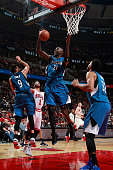 Kevin Garnett of the Minnesota Timberwolves grabs the rebound against the Chicago Bulls on November 7 2015 at the United Center in Chicago Illinois...