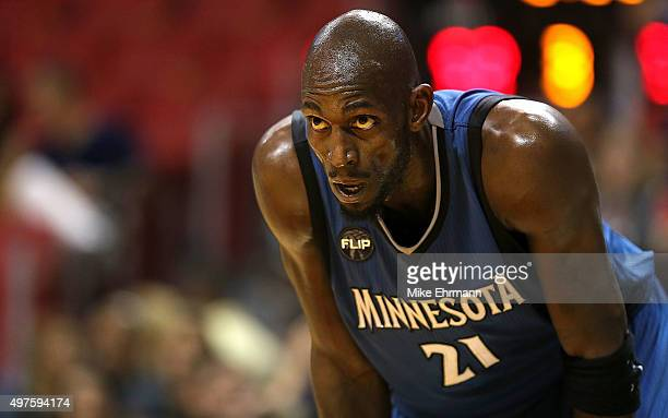 Kevin Garnett of the Minnesota Timberwolves looks on during a game against the Miami Heat at American Airlines Arena on November 17 2015 in Miami...