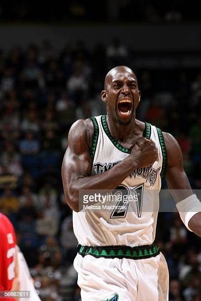 Kevin Garnett of the Minnesota Timberwolves reacts to a play against the Detroit Pistons on January 24 2006 at the Target Center in Minneapolis...
