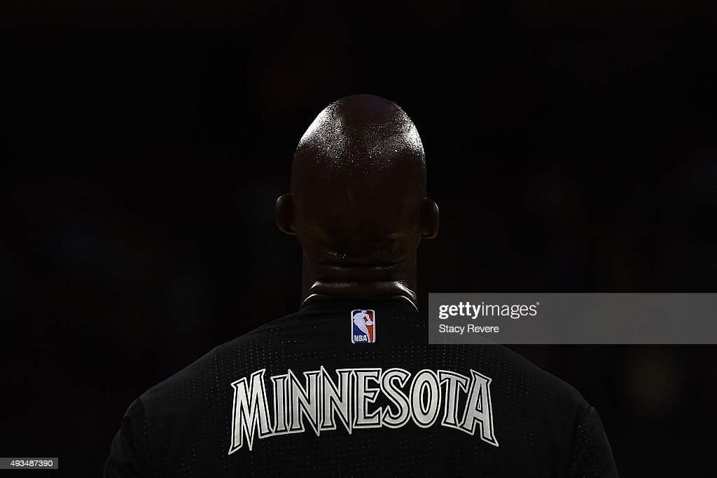 Kevin Garnett of the Minnesota Timberwolves stands for the National Anthem prior to a preseason game against the Milwaukee Bucks at the Kohl Center...