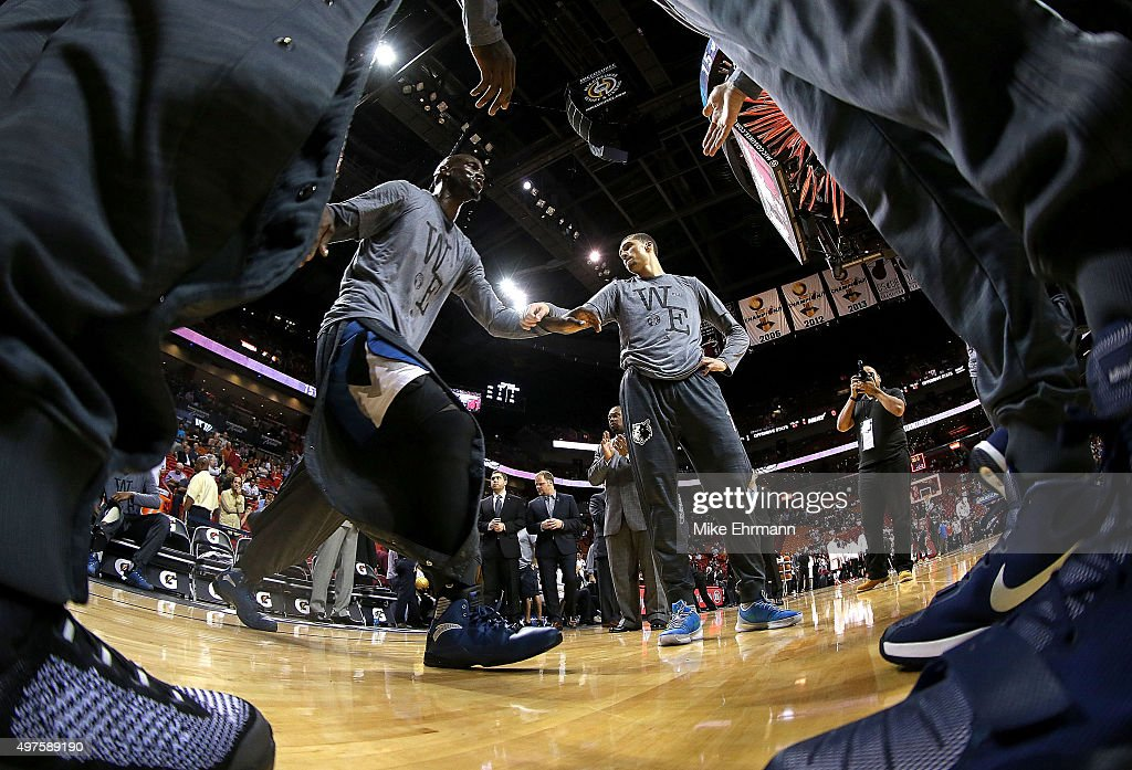 Kevin Garnett of the Minnesota Timberwolves takes the floor during a game against the Miami Heat at American Airlines Arena on November 17 2015 in...
