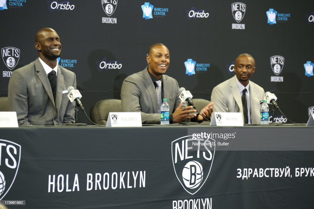 Kevin Garnett Paul Pierce and Jason Terry of the Brooklyn Nets speak to media during a press conference at the Barclays Center on July 18 2013 in the...