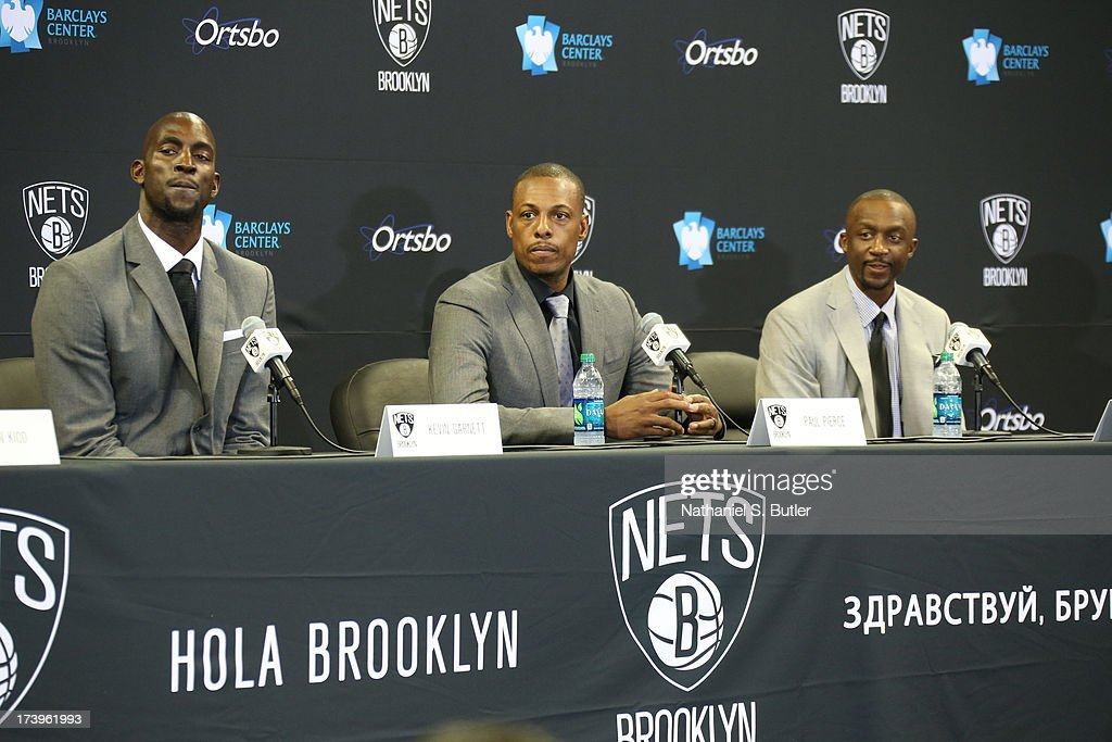 Kevin Garnett #2, Paul Pierce #34, and Jason Terry #31 of the Brooklyn Nets speak to media during a press conference at the Barclays Center on July 18, 2013 in the Brooklyn borough of New York City.