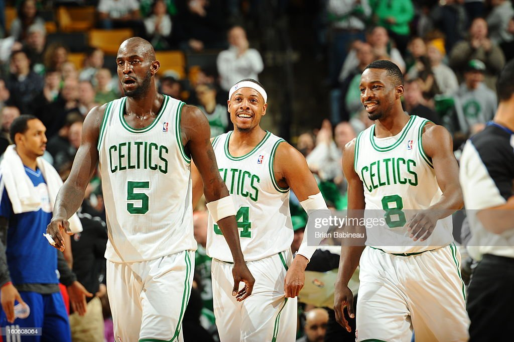 Kevin Garnett #5, Paul Pierce #34 and Jeff Green #8 of the Boston Celtics happy after a play against the Los Angeles Clippers on February 3, 2013 at the TD Garden in Boston, Massachusetts.