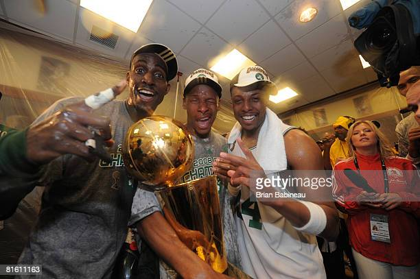 Kevin Garnett Ray Allen and Paul Pierce of the Boston Celtics pose for a photo with the NBA Champion trophy after defeating the Los Angeles Lakers...