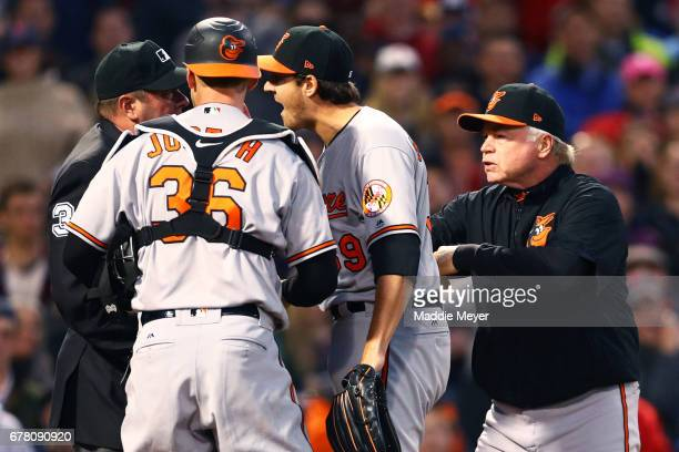 Kevin Gausman Caleb Joseph and Manager Buck Showalter of the Baltimore Orioles react after Gausman was ejected by umpire Sam Holbrook for striking...