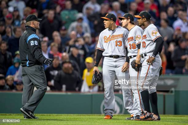 Kevin Gausman of the Baltimore Orioles argues alongside Manny Machado and Adam Jones with umpire Jim Wolf after being ejected from the game for...