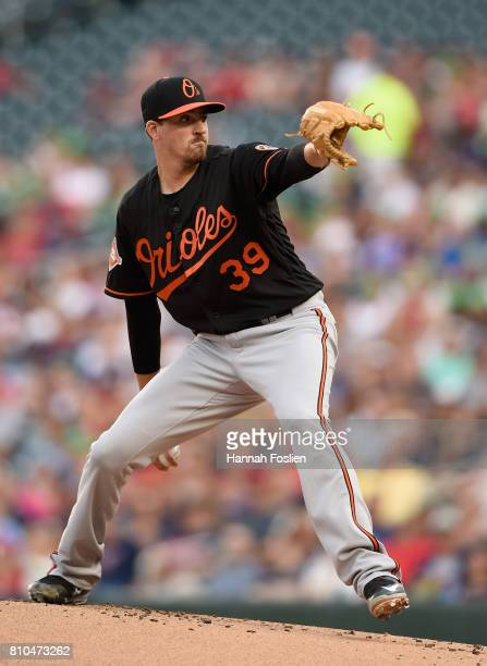 Kevin Gausman of the Baltimore Orioles delivers a pitch against the Minnesota Twins during the first inning of the game on July 7 2017 at Target...