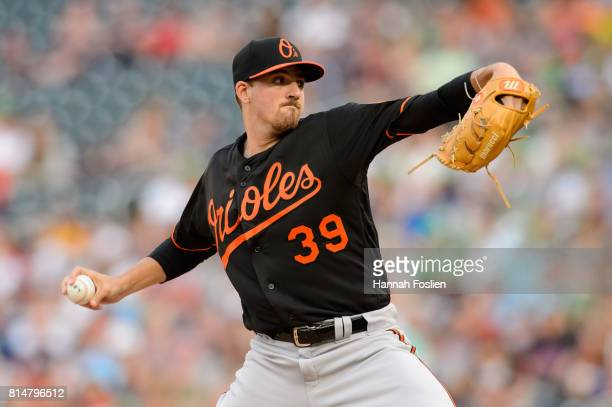 Kevin Gausman of the Baltimore Orioles delivers a pitch against the Minnesota Twins during the game on July 7 2017 at Target Field in Minneapolis...