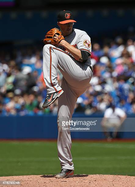 Kevin Gausman of the Baltimore Orioles delivers a pitch in the fifth inning during MLB game action against the Toronto Blue Jays on June 20 2015 at...