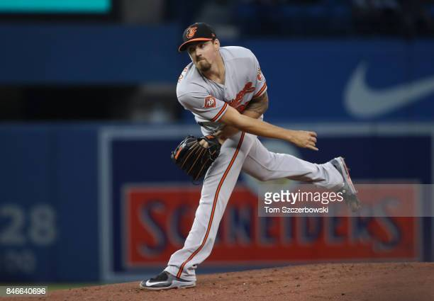 Kevin Gausman of the Baltimore Orioles delivers a pitch in the first inning during MLB game action against the Toronto Blue Jays at Rogers Centre on...