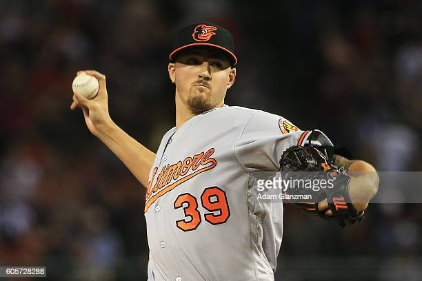 Kevin Gausman of the Baltimore Orioles delivers in the first inning of a game against the Boston Red Sox at Fenway Park on September 14 2016 in...