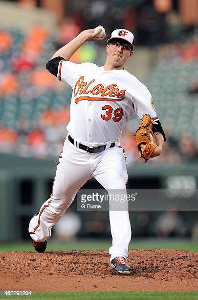 Kevin Gausman of the Baltimore Orioles pitches against the Atlanta Braves at Oriole Park at Camden Yards on July 27 2015 in Baltimore Maryland