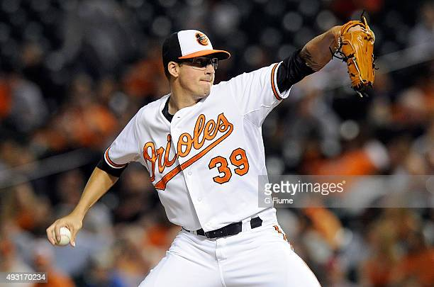 Kevin Gausman of the Baltimore Orioles pitches against the Boston Red Sox at Oriole Park at Camden Yards on September 14 2015 in Baltimore Maryland