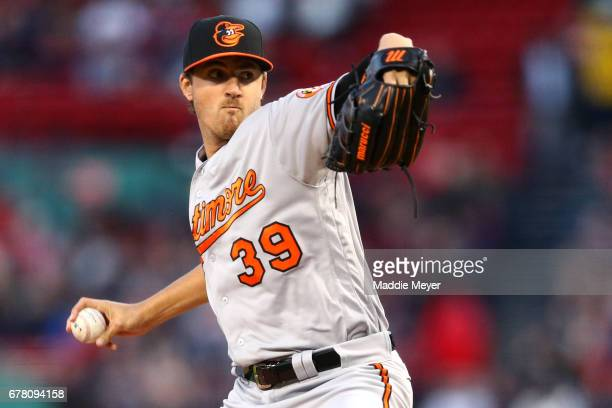 Kevin Gausman of the Baltimore Orioles pitches against the Boston Red Sox during the first inning at Fenway Park on May 3 2017 in Boston Massachusetts