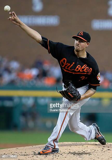 Kevin Gausman of the Baltimore Orioles pitches against the Detroit Tigers during the second inning at Comerica Park on September 9 2016 in Detroit...