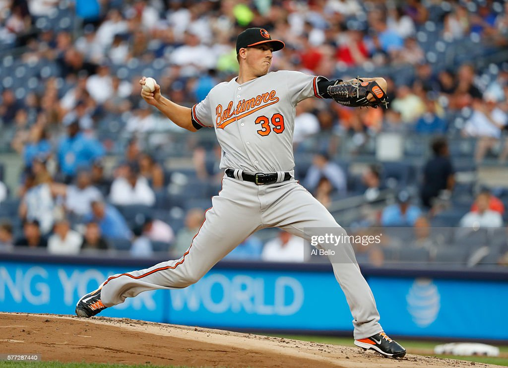 Kevin Gausman #39 of the Baltimore Orioles pitches against the New York Yankees during their game at Yankee Stadium on July 18, 2016 in New York City.