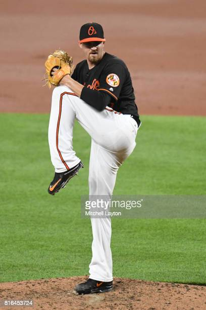 Kevin Gausman of the Baltimore Orioles pitches during a baseball game against the Chicago Cubs at Oriole Park at Camdens Yards on July 14 2017 in...