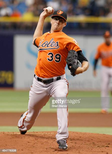 Kevin Gausman of the Baltimore Orioles pitches during the first inning of a game against the Tampa Bay Rays on September 6 2014 at Tropicana Field in...