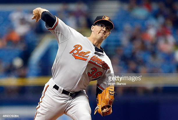 Kevin Gausman of the Baltimore Orioles pitches during the first inning of a game against the Tampa Bay Rays on September 20 2015 at Tropicana Field...
