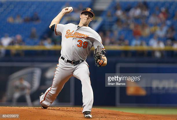 Kevin Gausman of the Baltimore Orioles pitches during the first inning of a game against the Tampa Bay Rays on April 25 2016 at Tropicana Field in St...