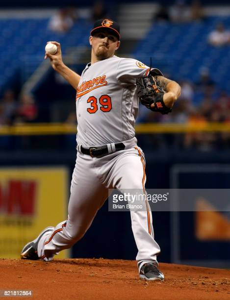 Kevin Gausman of the Baltimore Orioles pitches during the first inning of a game against the Tampa Bay Rays on July 24 2017 at Tropicana Field in St...