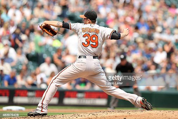 Kevin Gausman of the Baltimore Orioles pitches during the game against the Seattle Mariners at Safeco Field on August 12 2015 in Seattle Washington...